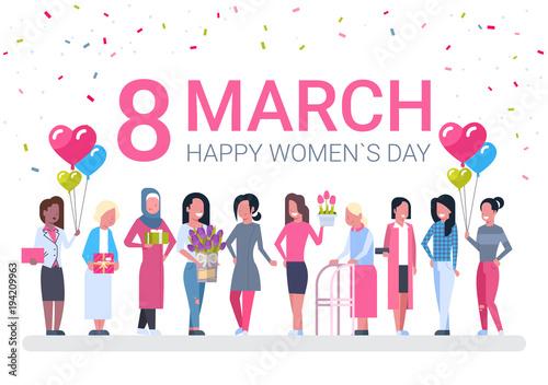 Staande foto Wanddecoratie met eigen foto Group Of Diverse Women, Holiday Decoration Banner For 8 March Vector Illustration