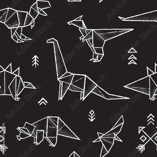 Cotton fabric Origami dinosaurs seamless pattern in black and white colors. Hand drawn vector illustration