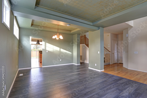 Spacious empty interior with dark grey hardwood floor