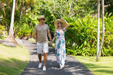 Couple walking on vacation in tropical resort - 194220703