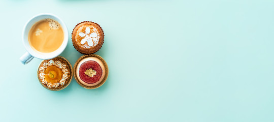 Handcrafted gourmet fruit tarts and pastries with coffee © Tierney