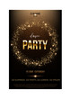 Dance party flyer template. Golden words, spot lights and glitter on dark brown background.