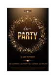Dance Party Flyer Template Golden Words Spot Lights And Glitter On Dark Brown  Wall Sticker