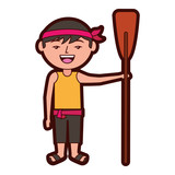 funny cartoon chinese man standing holding wooden oar vector illustration  - 194229124