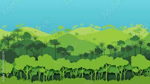 Fototapeta Green silhouette forest landscape background.Nature and environment conservation concept of paper art style.Vector illustration.