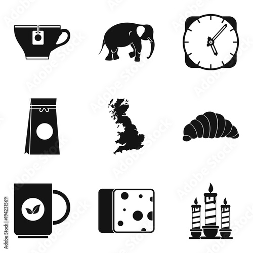 Tea cup icons set, simple style