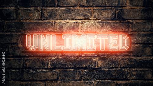 Tuinposter Baksteen muur Unlimited neon sign on brick wall