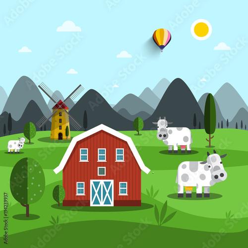 Fotobehang Boerderij Farm Cartoon. Vector Landscape with Cows and House.