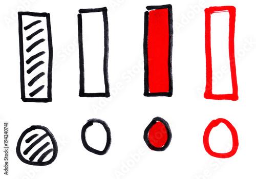 4 malowane wykrzykniki