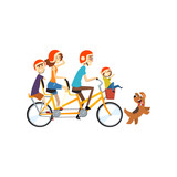 Happy Family Riding On Long Tandem Bicycle Parents Enjoying Cycling  Children And Dog Recreation  Kids  Illustration Wall Sticker