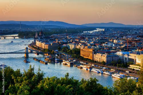 Poster City Of Budapest Sunset Cityscape