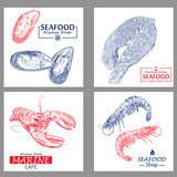 Seafood vintage design template set. Vector illustration hand drawn linear art.