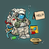 Crowdfunding concept. A poor homeless astronaut asks for money - 194254770