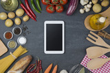 Food and cooking concept. Organic Ingredients and tablet top view and copy space. - 194256177