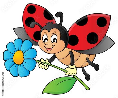 Foto op Canvas Voor kinderen Ladybug holding flower theme image 1