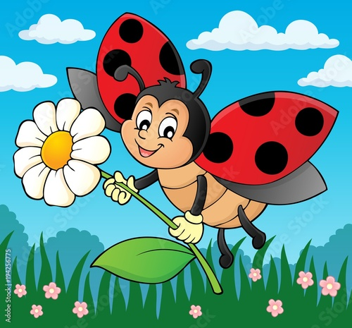 Foto op Canvas Voor kinderen Ladybug holding flower theme image 2