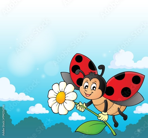 Foto op Canvas Voor kinderen Ladybug holding flower theme image 3