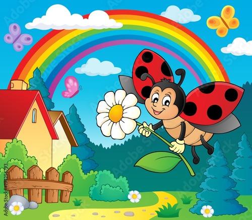 Foto op Canvas Voor kinderen Ladybug holding flower theme image 4