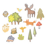 Hand drawn wild animals in the forest