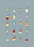 Poster cocktails flat grayish blue - 194274739