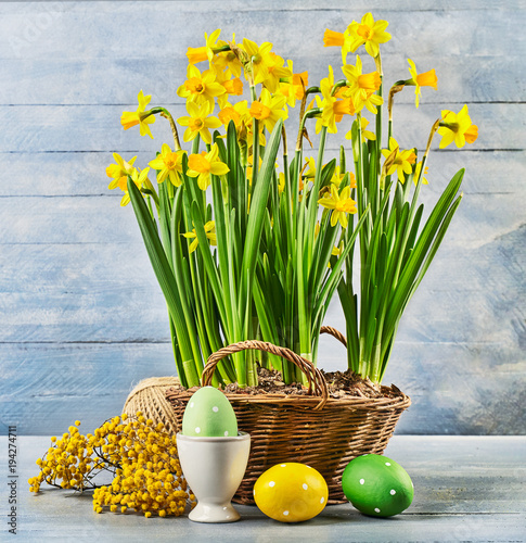 Easter holiday card with eggs yellow spring flowers narcissus