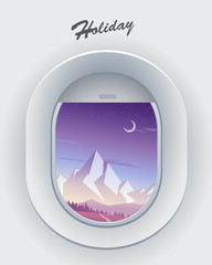 Mountain scenery view from airplane window with moon. © pokki