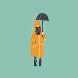 Bearded Man In Orange Raincoat  Umbrella Over Autumn Rain  Illustration Wall Sticker