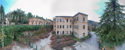 Fotobehang Toscane Volterra, Italy. Beautiful aerial panoramic view of ancient and abandoned buildings