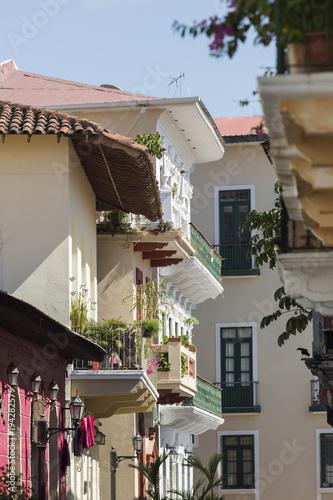 In de dag Barcelona Tourist attractions and destination scenics. View of street of Casco Antiguo, Panama City