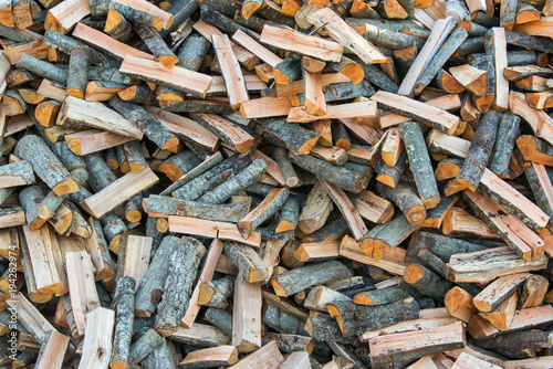 Tuinposter Brandhout textuur texture chopped wood firewood