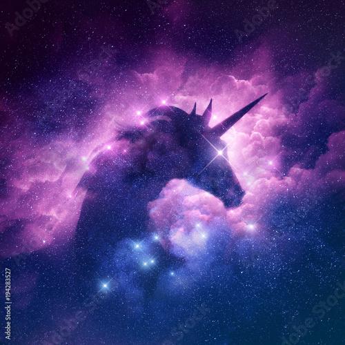 Fototapeta A unicorn silhouette in a galaxy nebula cloud. Raster illustration.