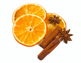 dried oranges and spices isolated on white - 194285598