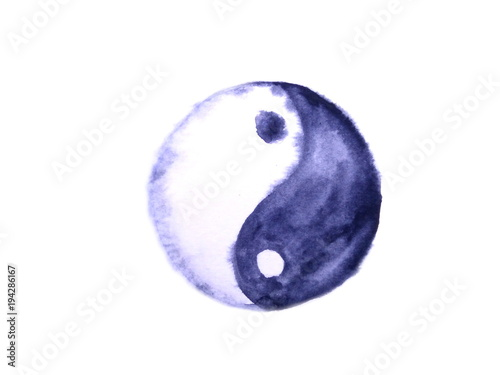 watercolor yin yang symbol isolated on white background.hand drawn wet on wet. © atichat