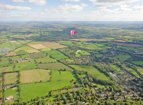 Paragliding above the Severn Valley, Worcestershire