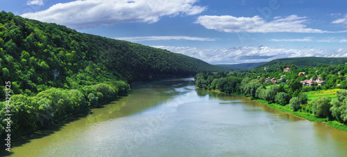 Aluminium Zomer Summer landscape with wide river.