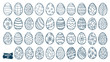 Easter eggs doodle set. Spring holiday symbols. Egg ornaments sketch. Hand drawn style scrawl. Set of simple doodles. Kids drawing. Vector collection isolated on white.