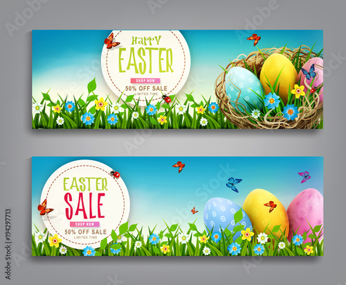 Fototapeta Vector set illustration. Easter vintage sale banner, advertising round card with eggs lying in a wicker basket and with green grass against the background of blue sky.