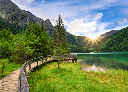 Staande foto Bergen Antholzer See, Ahrntal, Südtirol