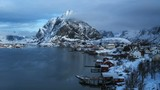 timelapse, snow in Reine Village, Lofoten Islands, Norway - 194302956