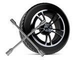 Car wheel with wheel spanner - 194304519