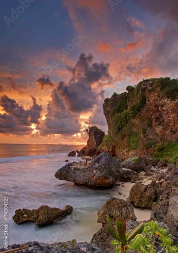 Aluminium Zee zonsondergang Sunset at Ngobaran Beach, Yogyakarta, Java, Indonesia