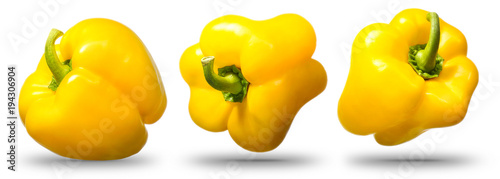 Fotobehang Verse groenten Collection of sweet yellow pepper isolated on white background