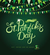 Saint Patricks Day background. Bunting, shamrocks and copy space. EPS10 vector illustration.