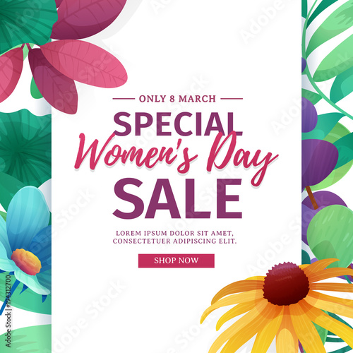Banner for sale International  Happy Women's Day on flower background. Flyer for March 8 with the decor of floral. Invitations with vertical frame and flower for offer and discount. Vector