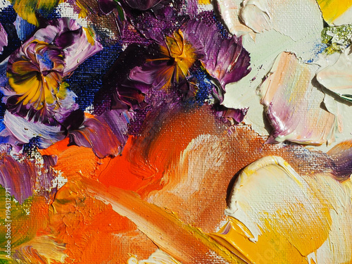 Abstract oil painting background. Fantasy colourful flowers. Oil on canvas texture. Hand painted. Modern art. © shvets_tetiana