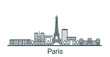 Linear banner of Paris city. All buildings - customizable different objects with clipping mask, so you can change background and composition. Line art.