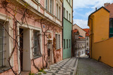 Calm street in old town, no people. Charming Prague, Czech Repubic.