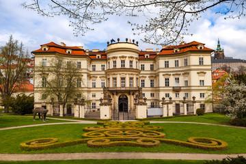 PRAGUE, CZECH REPUBLIC - APRIL 09, 2017: Lobkowicz Palace and backyard with beautiful gardening. Also German embassy.