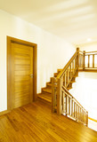 House interior with modern wooden staircase - 194318356