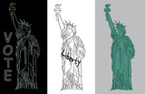 Statue of Liberty holding torch line art vector illustration set with different colored backgrounds and text.  - 194318947